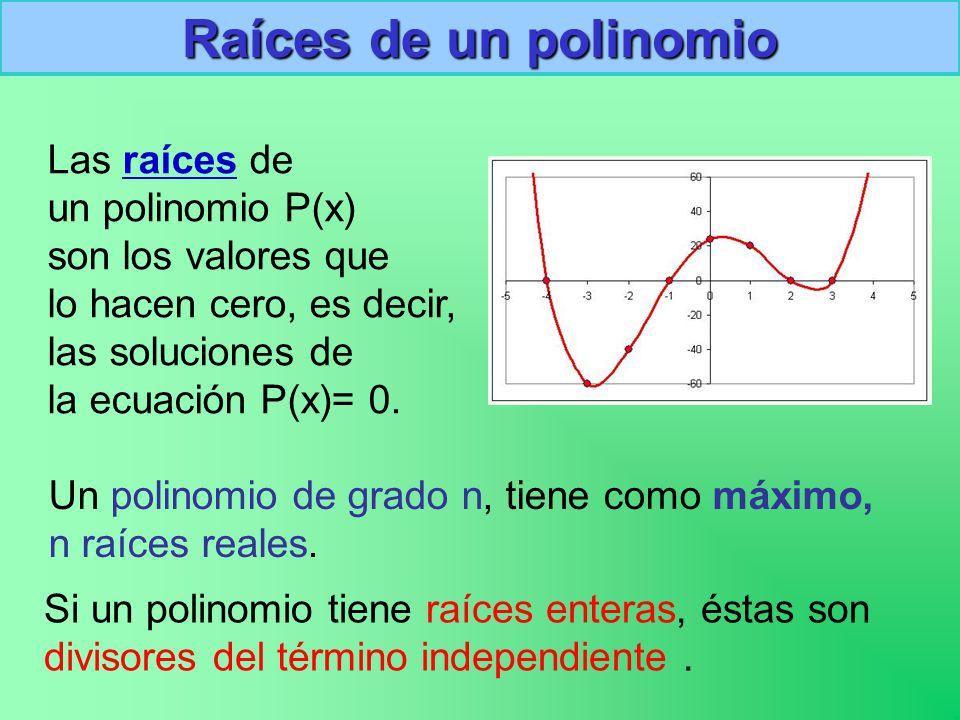Raíces de un polinomio Las raíces de un polinomio P(x)