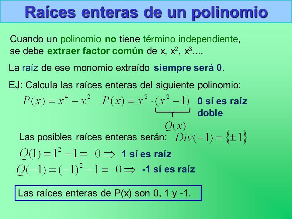 Raíces enteras de un polinomio