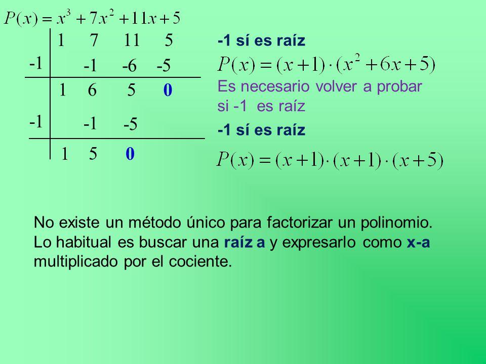 1 7 11 5 -1 sí es raíz. -1. -1. -6. -5. 1. 6. 5. Es necesario volver a probar si -1 es raíz.