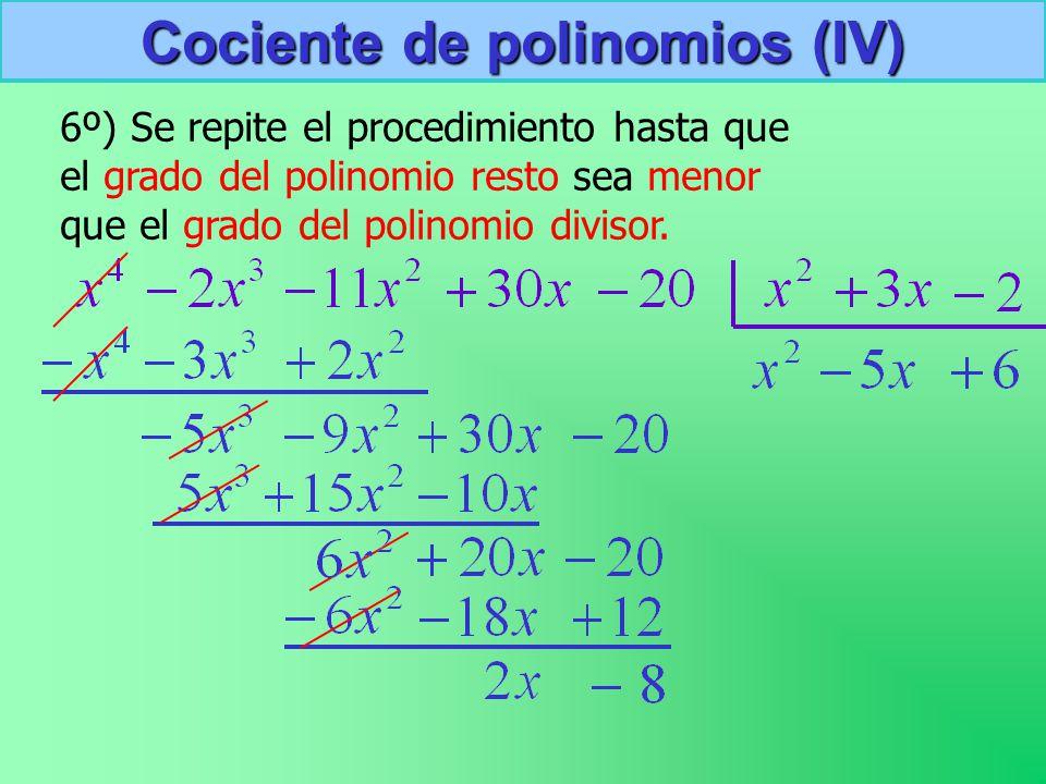 Cociente de polinomios (IV)