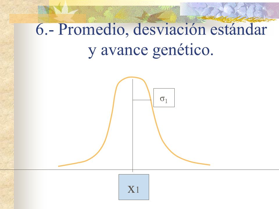 6.- Promedio, desviación estándar y avance genético.