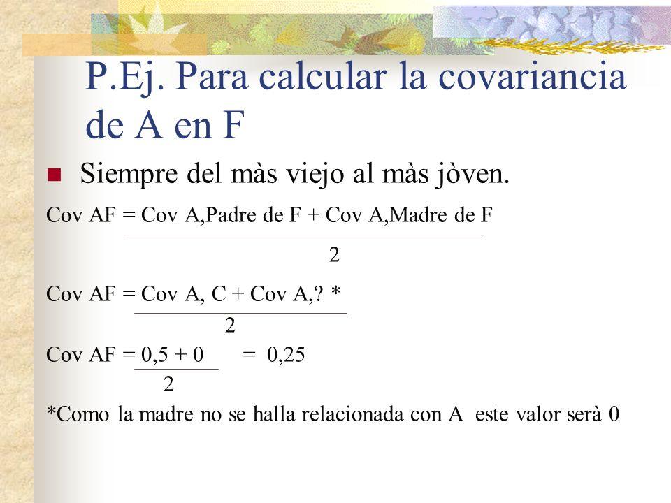 P.Ej. Para calcular la covariancia de A en F
