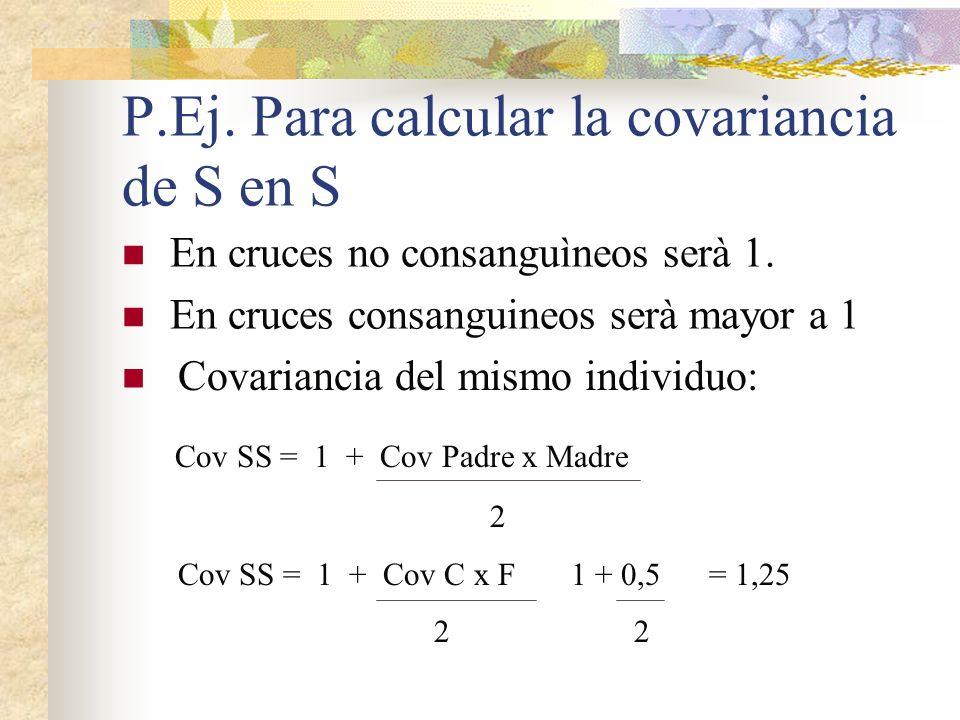 P.Ej. Para calcular la covariancia de S en S