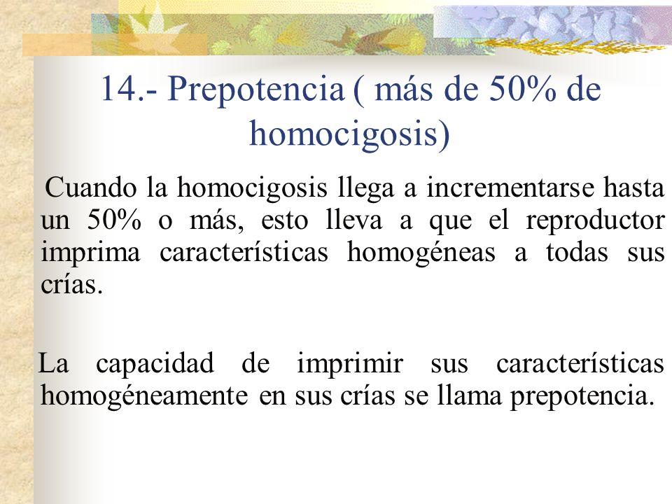 14.- Prepotencia ( más de 50% de homocigosis)