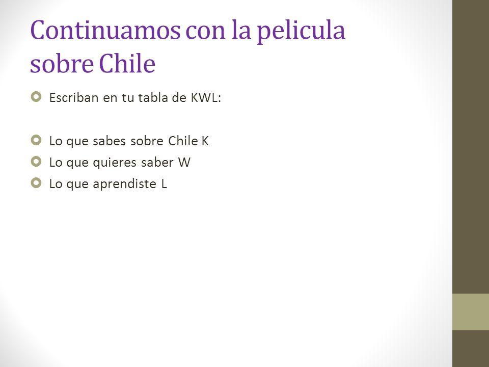 Continuamos con la pelicula sobre Chile