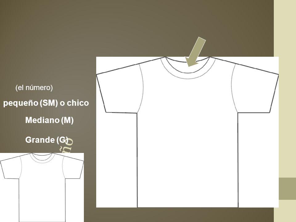 la talla el tamaño pequeño (SM) o chico Mediano (M) Grande (G)