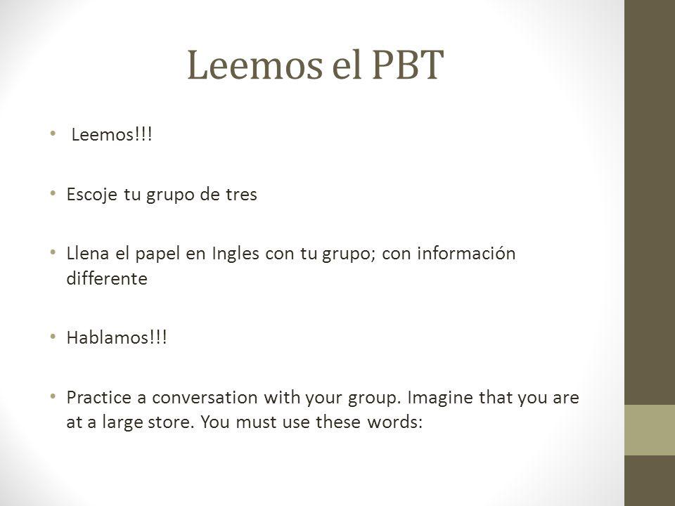 Leemos el PBT Leemos!!! Escoje tu grupo de tres
