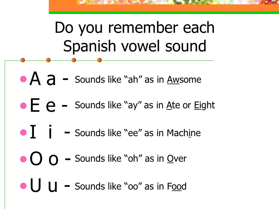 Do you remember each Spanish vowel sound