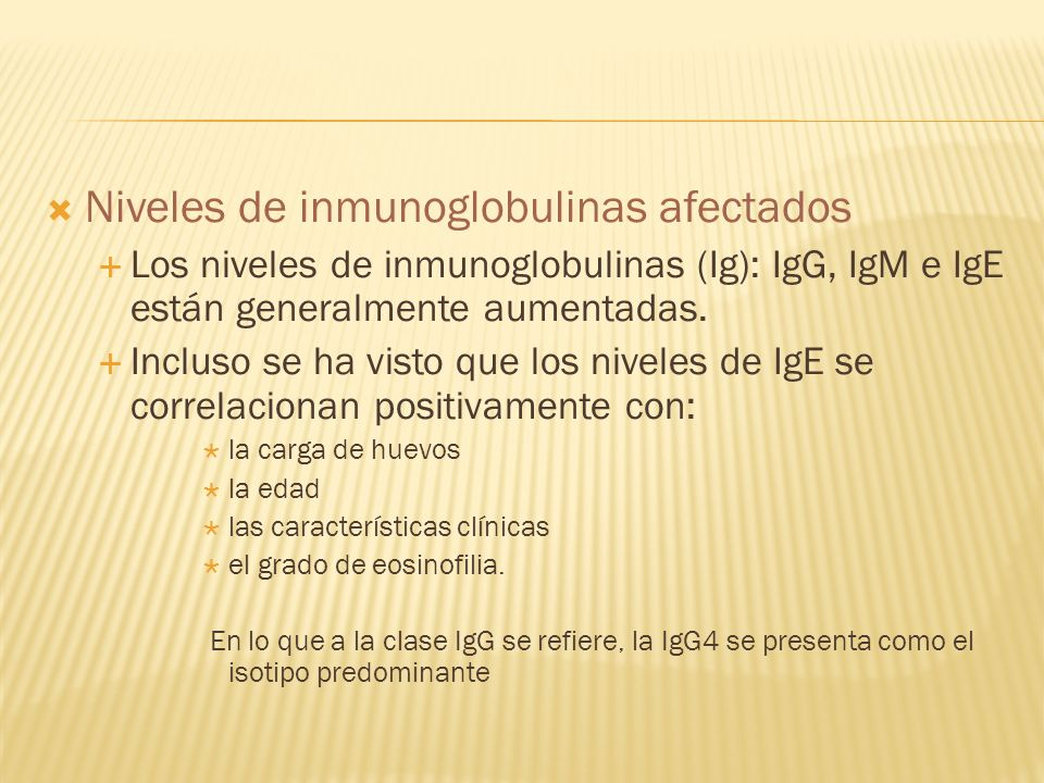Niveles de inmunoglobulinas afectados
