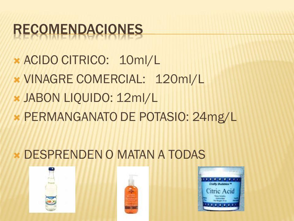 RECOMENDACIONES ACIDO CITRICO: 10ml/L VINAGRE COMERCIAL: 120ml/L