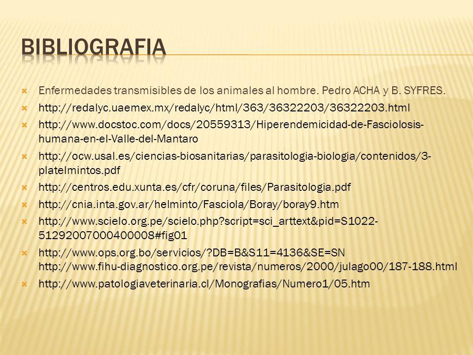bibliografia Enfermedades transmisibles de los animales al hombre. Pedro ACHA y B. SYFRES.