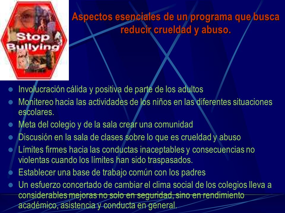 Aspectos esenciales de un programa que busca reducir crueldad y abuso.