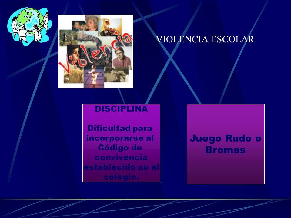 VIOLENCIA ESCOLAR Juego Rudo o Bromas DISCIPLINA Dificultad para