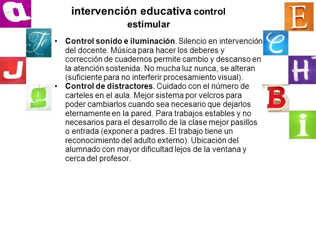 intervención educativa control estimular
