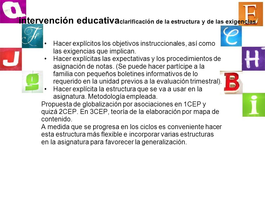 intervención educativaclarificación de la estructura y de las exigencias