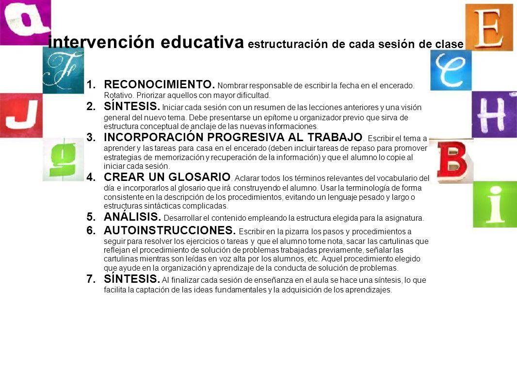 intervención educativa estructuración de cada sesión de clase