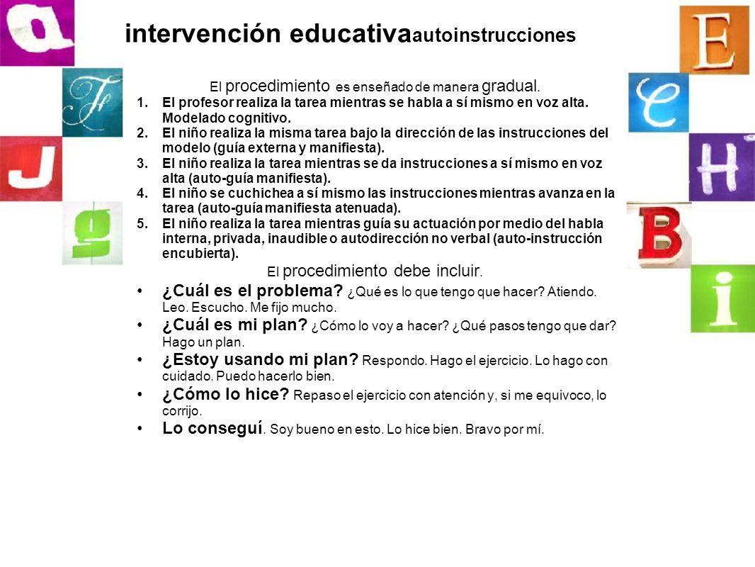 intervención educativaautoinstrucciones