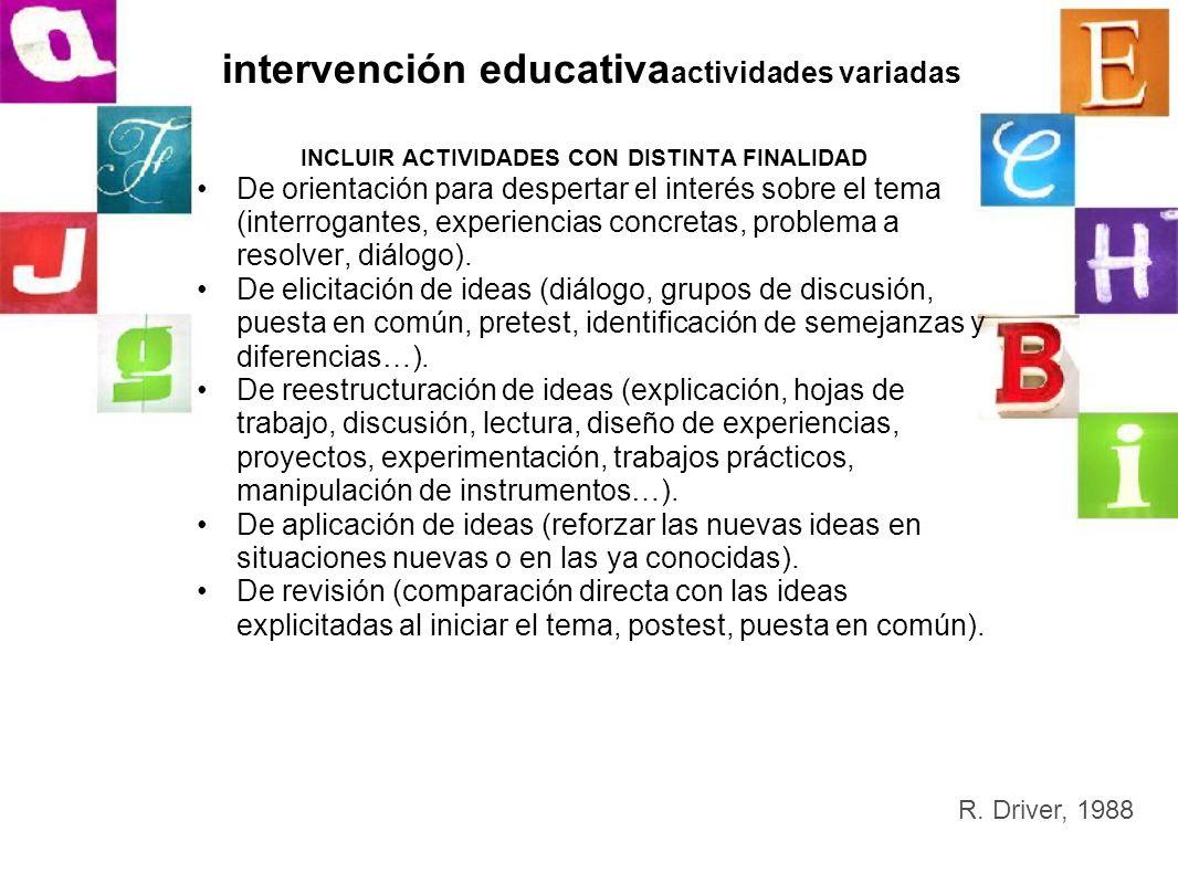 intervención educativaactividades variadas
