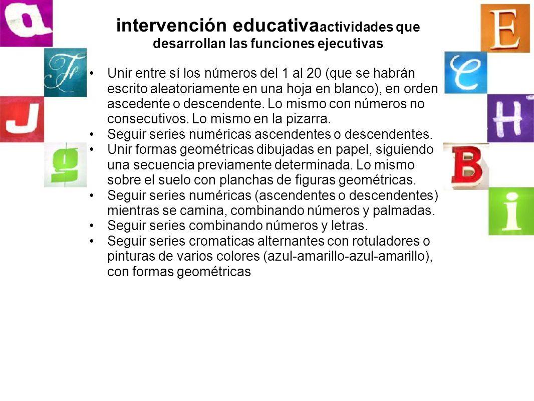 intervención educativaactividades que desarrollan las funciones ejecutivas
