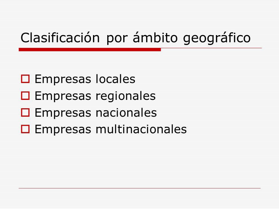 Clasificación por ámbito geográfico