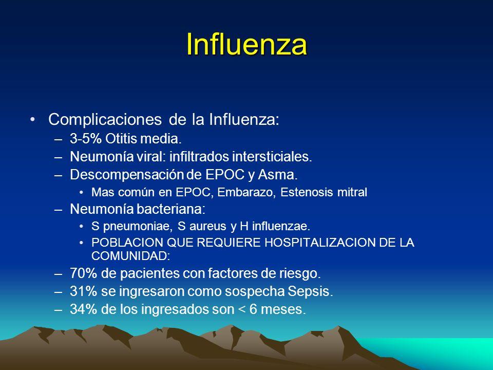 Influenza Complicaciones de la Influenza: 3-5% Otitis media.
