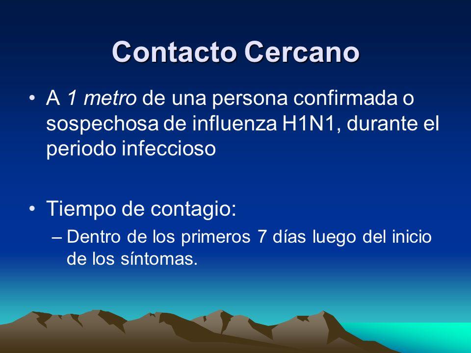 Contacto Cercano A 1 metro de una persona confirmada o sospechosa de influenza H1N1, durante el periodo infeccioso.