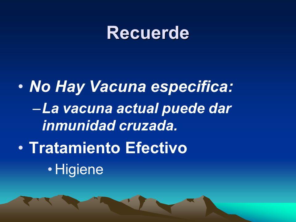 Recuerde No Hay Vacuna especifica: Tratamiento Efectivo
