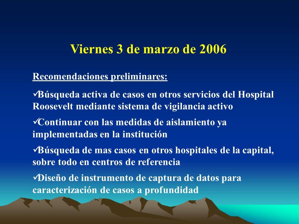 Viernes 3 de marzo de 2006 Recomendaciones preliminares: