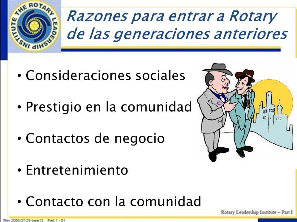 Razones para entrar a Rotary de las generaciones anteriores