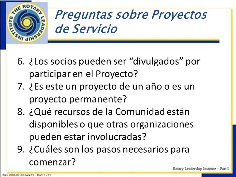Preguntas sobre Proyectos de Servicio