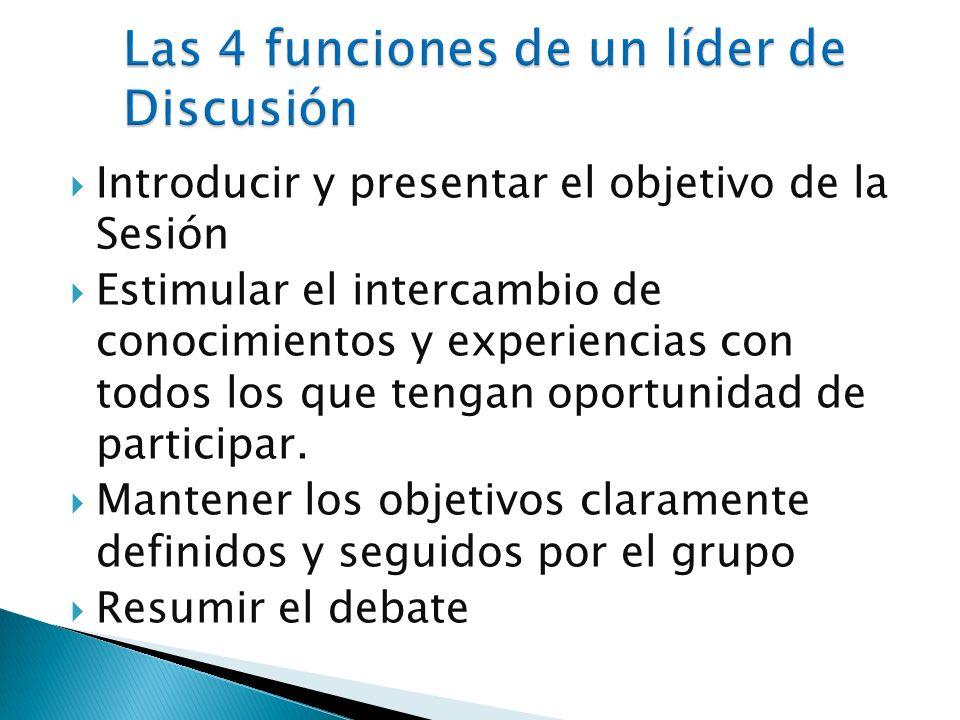 Las 4 funciones de un líder de Discusión