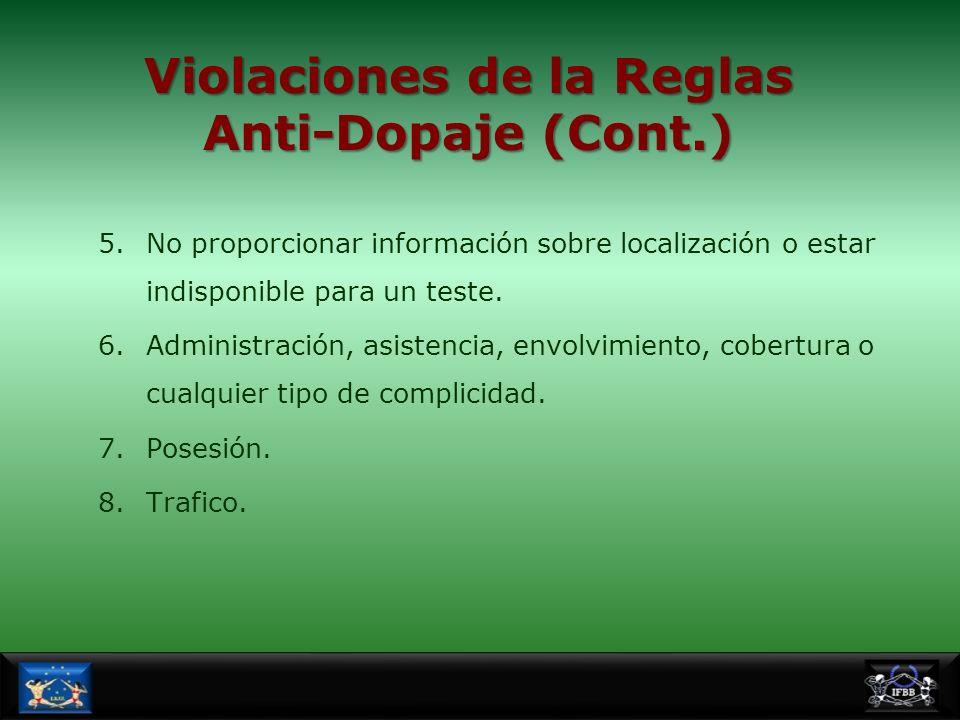 Violaciones de la Reglas Anti-Dopaje (Cont.)