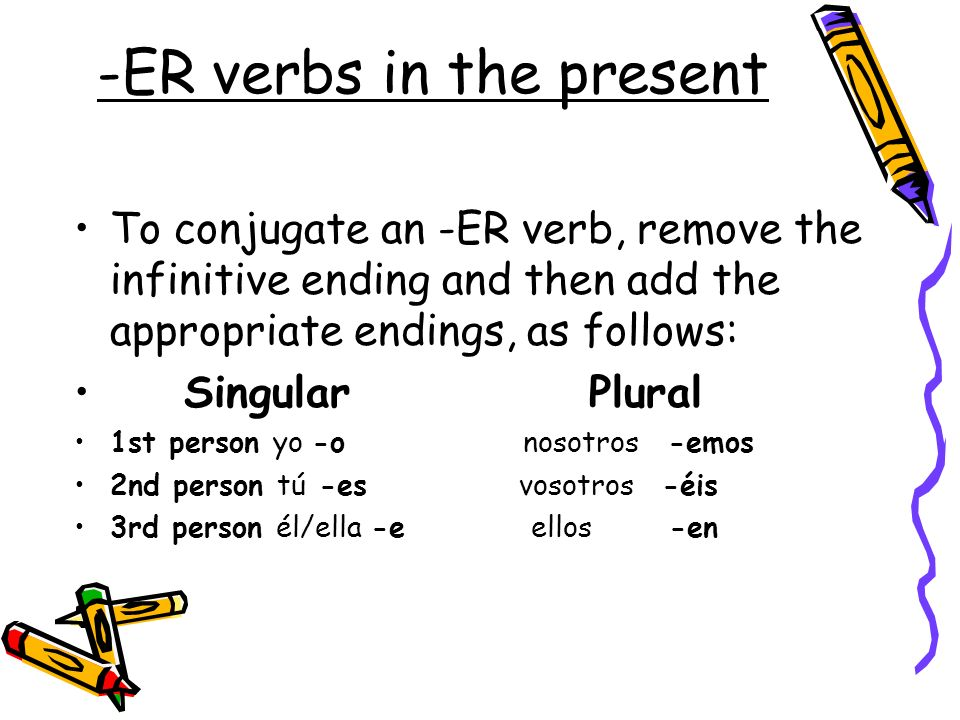 -ER verbs in the present