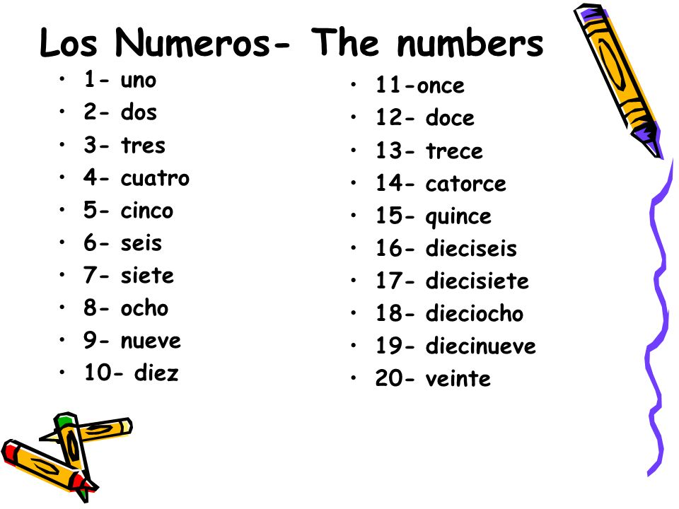 Los Numeros- The numbers