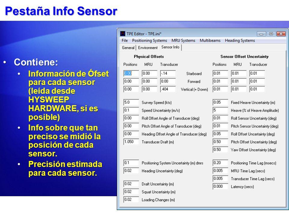 Pestaña Info Sensor Contiene: