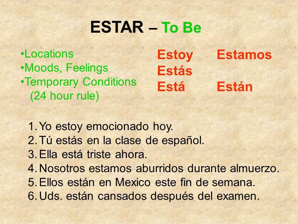 ESTAR – To Be Estoy Estamos Estás Está Están Locations Moods, Feelings