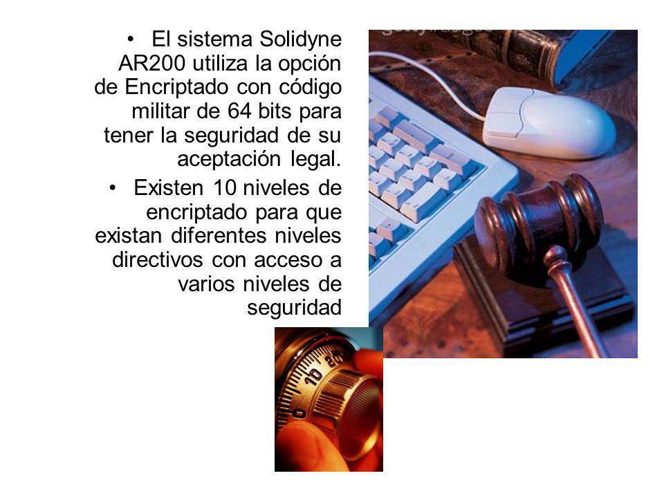 El sistema Solidyne AR200 utiliza la opción de Encriptado con código militar de 64 bits para tener la seguridad de su aceptación legal.