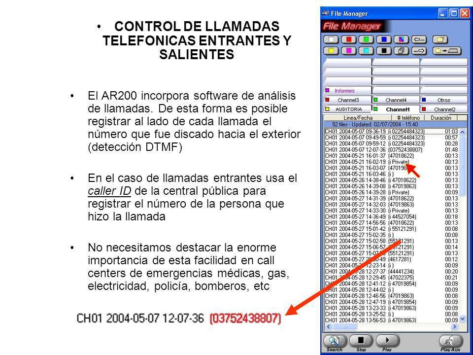 CONTROL DE LLAMADAS TELEFONICAS ENTRANTES Y SALIENTES