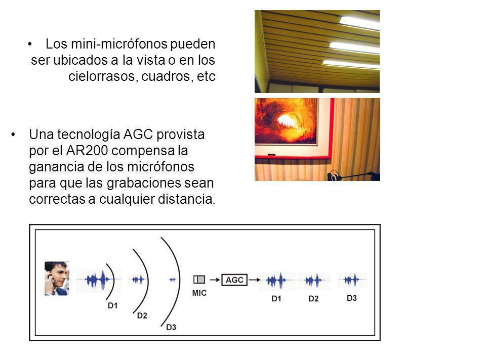 Los mini-micrófonos pueden ser ubicados a la vista o en los cielorrasos, cuadros, etc
