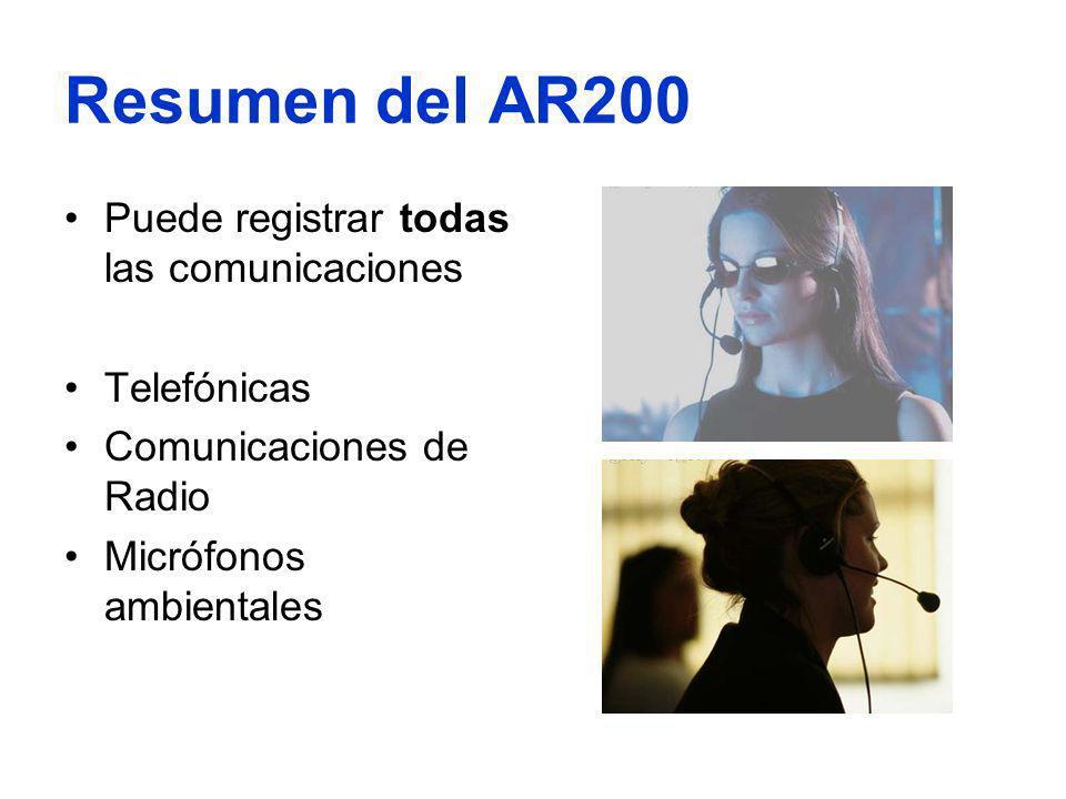 Resumen del AR200 Puede registrar todas las comunicaciones Telefónicas