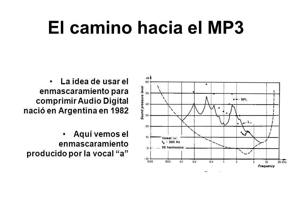 El camino hacia el MP3 La idea de usar el enmascaramiento para comprimir Audio Digital nació en Argentina en 1982.
