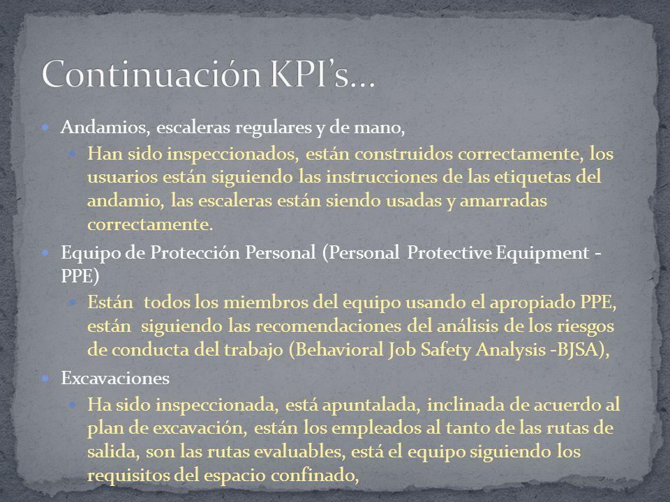 Continuación KPI's… Andamios, escaleras regulares y de mano,