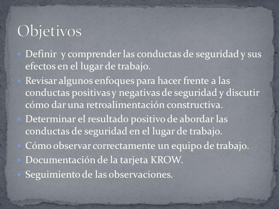 Objetivos Definir y comprender las conductas de seguridad y sus efectos en el lugar de trabajo.