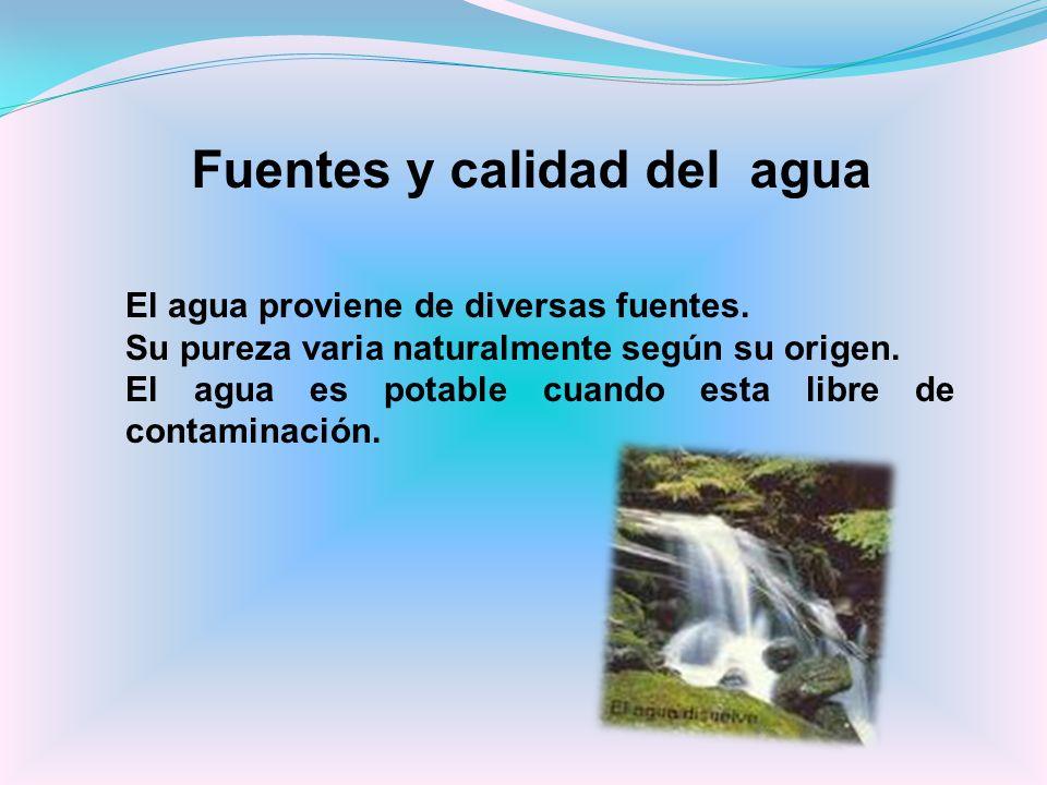 Fuentes y calidad del agua