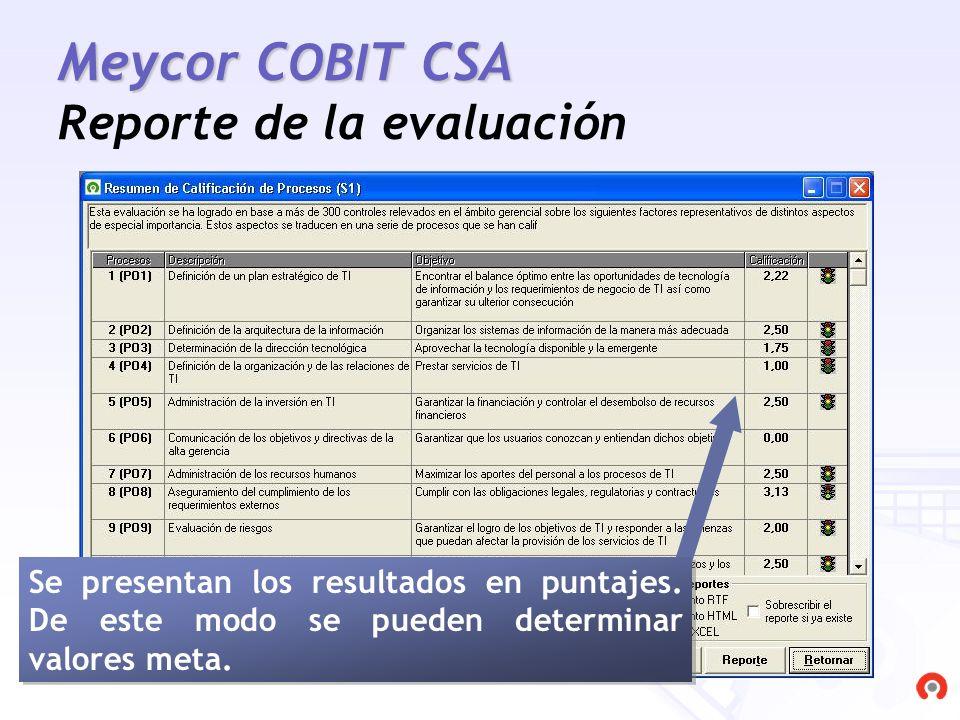 Meycor COBIT CSA Reporte de la evaluación