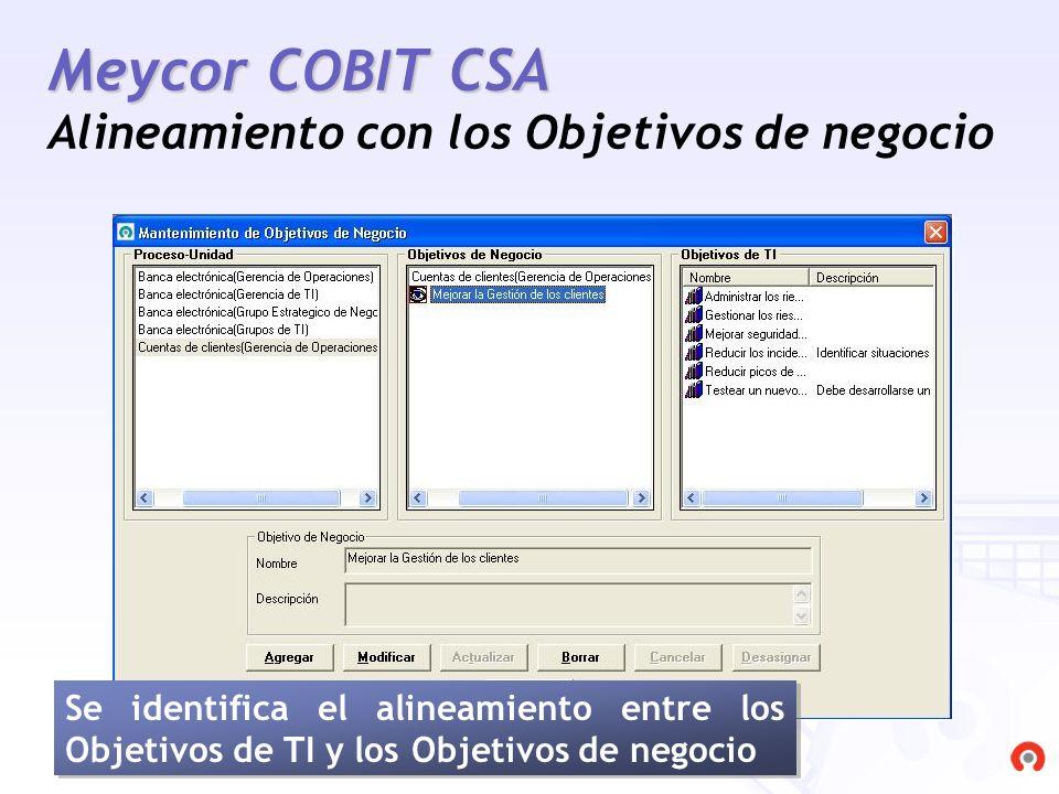 Meycor COBIT CSA Alineamiento con los Objetivos de negocio