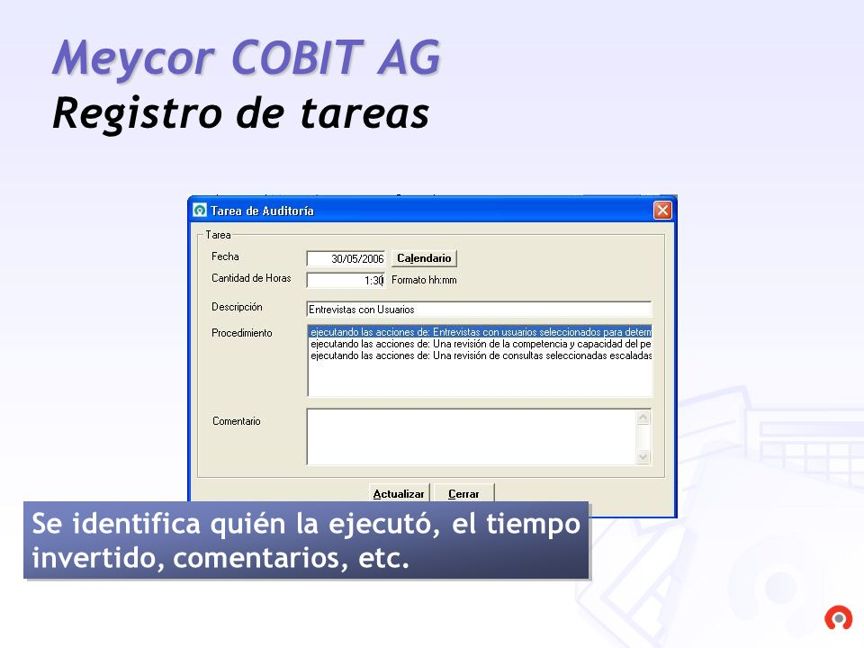 Meycor COBIT AG Registro de tareas