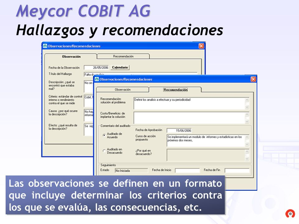 Meycor COBIT AG Hallazgos y recomendaciones