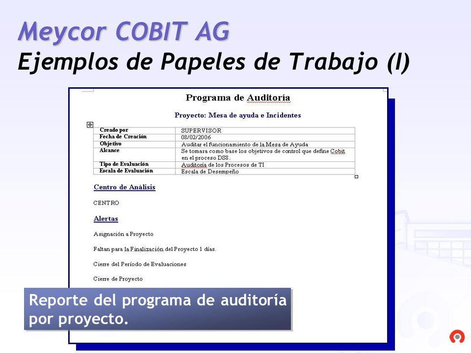Meycor COBIT AG Ejemplos de Papeles de Trabajo (I)