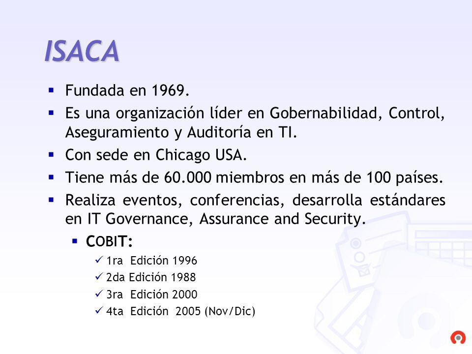 ISACA Fundada en 1969. Es una organización líder en Gobernabilidad, Control, Aseguramiento y Auditoría en TI.